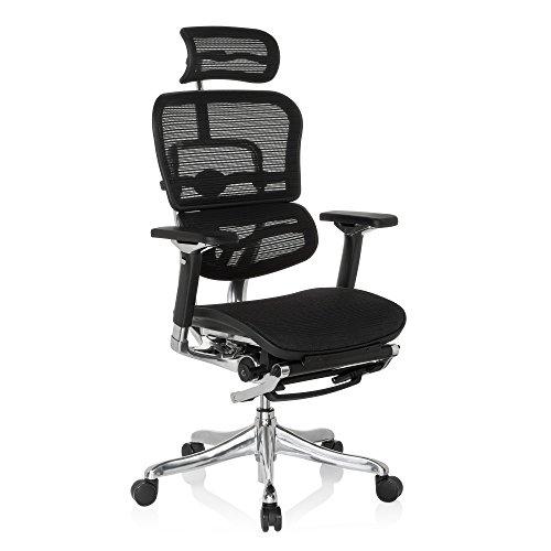 hjh OFFICE 652992 silla de oficina ERGOHUMAN PLUS LEGPRO tejido de malla negro, con apoyapiés, sólido aluminio pulido, ergonómico, sillón alta gama