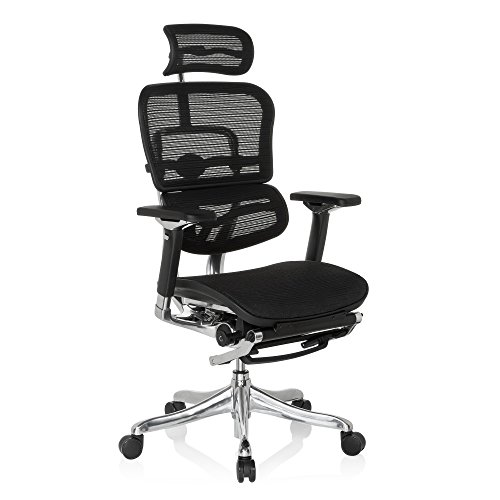 hjh OFFICE 652992 silla de oficina ERGOHUMAN PLUS LEGPRO tejido de malla negro,...