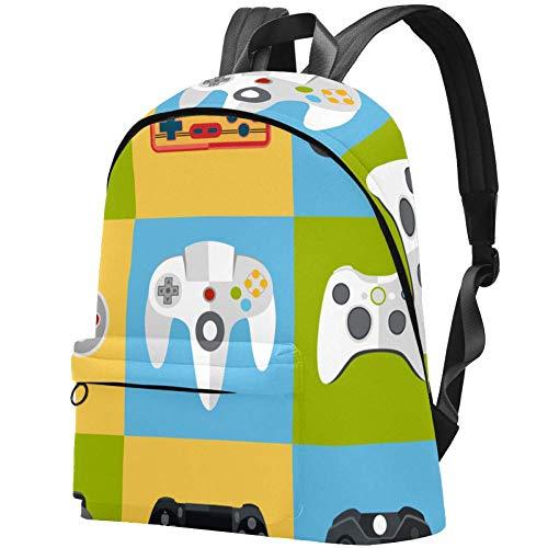 Gamepad Icon Set Muster College Student Büchertasche Rucksack Reise Tagesrucksack Tasche