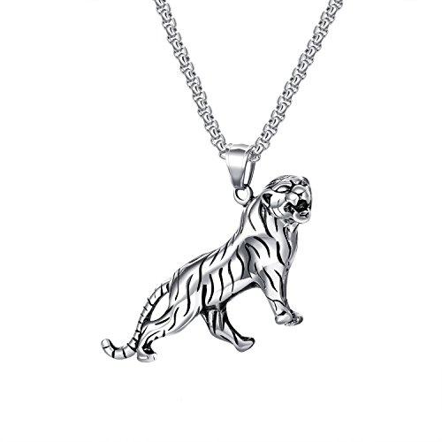 bigsoho Herren Anhänger Tiger Halskette Edelstahl Kette 55 cm Schmuck (Silber)
