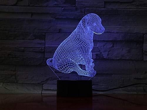 Lampara Mesilla de Noche,Luz Nocturna LED,Lámpara de Mesa,7 colores Patrón perro,Luz del sueño Bebé,para cuarto de niños dormitorio decoración de la sala cumpleaños regalo