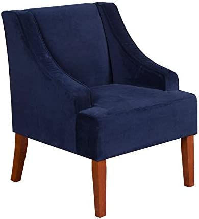 Best HomePop Velvet Swoop Arm Accent Chair, Navy