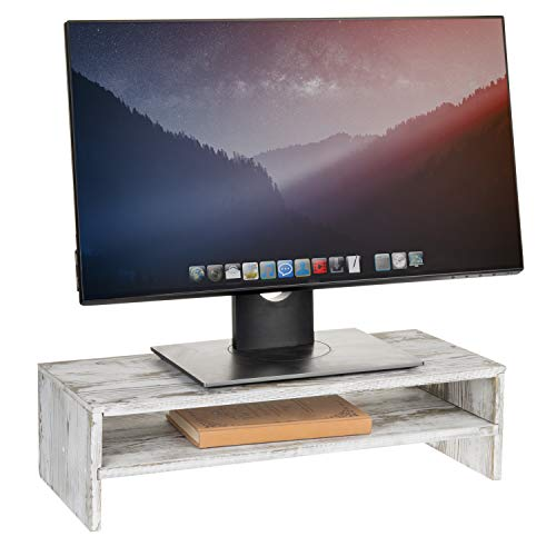 MyGift 2-Tier Rustic Whitewashed Wood Computer Monitor Stand & Desktop Shelf