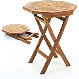 Livinia - Mesa plegable octogonal de teca (500 unidades, madera de teca, portátil, para picnic, fiesta, mesa de camping