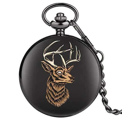Reloj de Bolsillo de Cuarzo con Dibujo de Cabeza de Alce, Reloj Colgante de joyería, Reloj Steampunk Liso, Cadena de Bolsillo Negra, Regalos para Hombres y Mujeres