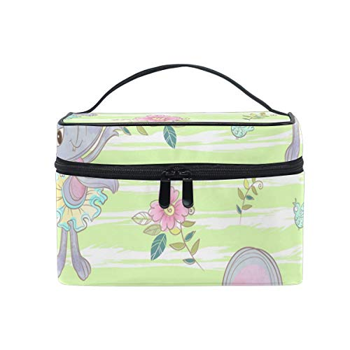 Daisy Flower Ballet Mouse Makeup Bag for Women Cosmetic Bag Toiletry Train Case