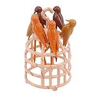 MINGTAI かわいいミニ鳥かごフルーツピックプラスチックフルーツフォークデザートセットキッチン用品つまようじボックスクリーン歯テーブルデコレーション (Color : Khaki)