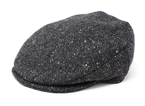 Hanna Hats - Gorra plana vintage de tweed modelo Donegal para hombre, fabricada en Irlanda, 100 % lana - gris - XX-Large