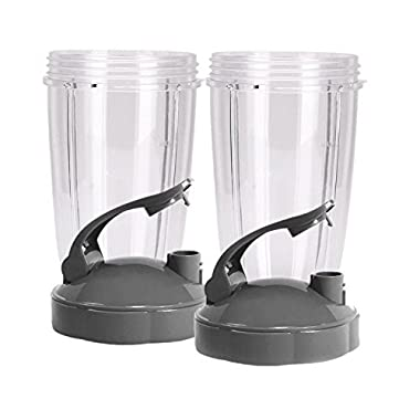 Blendin Flip Top To Go Lid with 24oz Tall Cup,Fits Nutribullet 600W 900W Blenders (2 Pack) …