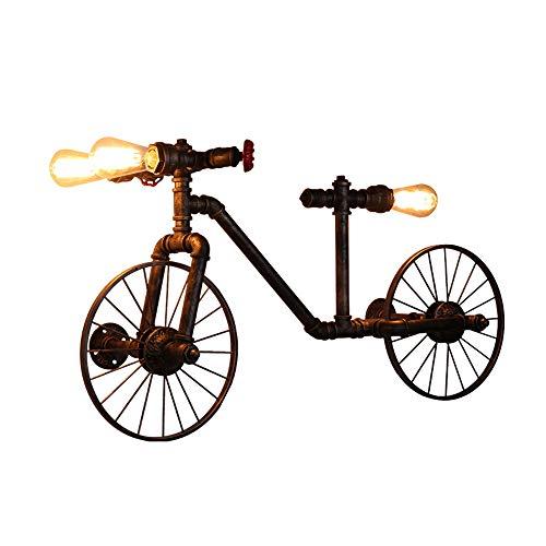 ASNX Industrial Wall Sconce, Hierro Antiguo Bicicleta Farol