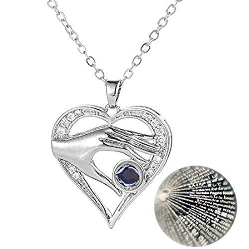 yichahu Moda 100 Tipo de Lenguaje Collar Proyección Melocotón Corazón Amor Gargantilla Mujeres Día de San Valentín de los Amantes del Día de San Valentín