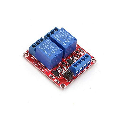 2-Kanal-Relaismodul, 5-V-Relaismodul für Trigger-Erweiterungsplatine mit niedrigem Pegel und Optokoppler für Raspberry PI (1 Stück)