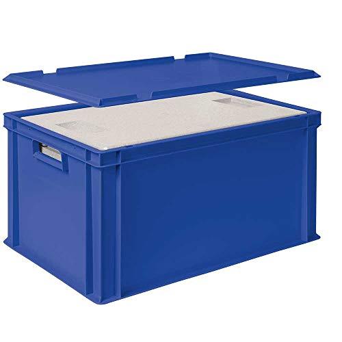 Set, 2x 35 Liter Thermobox aus EPS in Eurobox 600x400, blau, mit Deckel