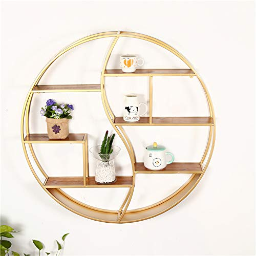 LLDKA boekenkast metaal boekenkast boekenkast houten plank decoratieve wanddecoratie rond metaal opslag hout
