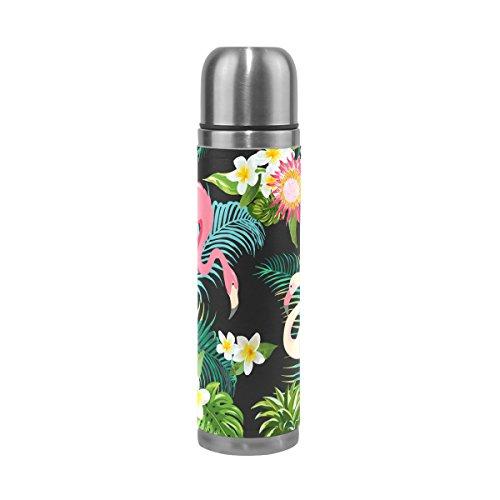Jstel Tropic Fleur Flamingo Feuille de palmier et plantes arrière en acier inoxydable Gourde thermos anti-fuites Vacuum isotherme à double paroi pour café chaud ou froid à thé + Boisson