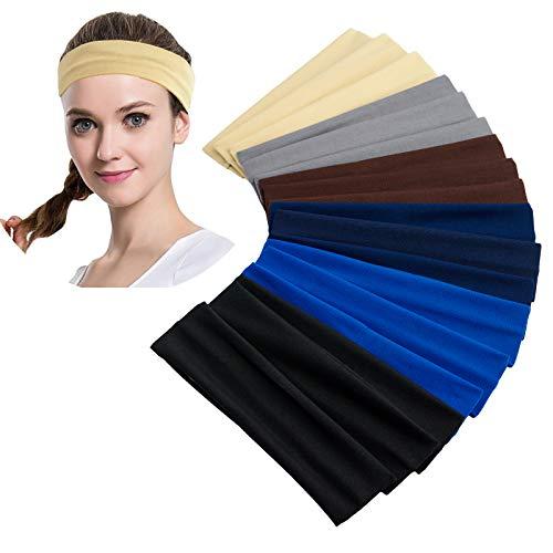 18 Stück Sport Stirnband, bunte Sport Yoga Baumwolle Stirnband Stretchy Alice Band Haarband für Mädchen Damen
