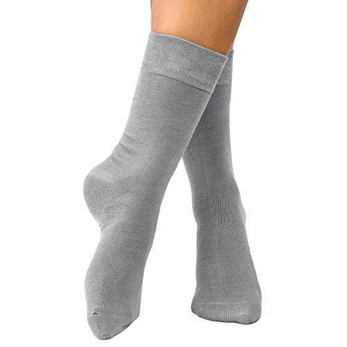 lampox Bambussocken (6 Paar) Atmungsaktiv Socken Business (47-50, Grau)