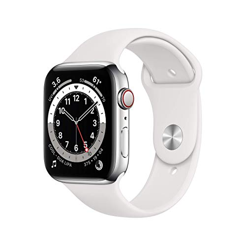 Apple Watch Series 6 (GPS + Cellular, 44mm) - Silver Stainless Steel Case with White Sport Band (Renewed)