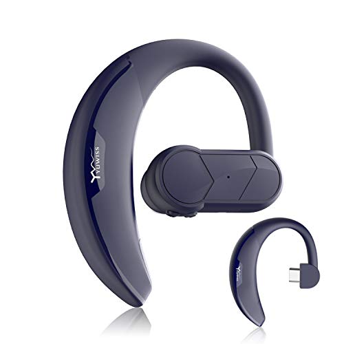 KINGWorld Bluetooth Headset with 36-Hr Playing Time Car Driving Bluetooth Earpiece Wireless Hands Free Headphones with Mic Cell Phone Noise Cancelling in-Ear Compatible with iPhone (Blue)