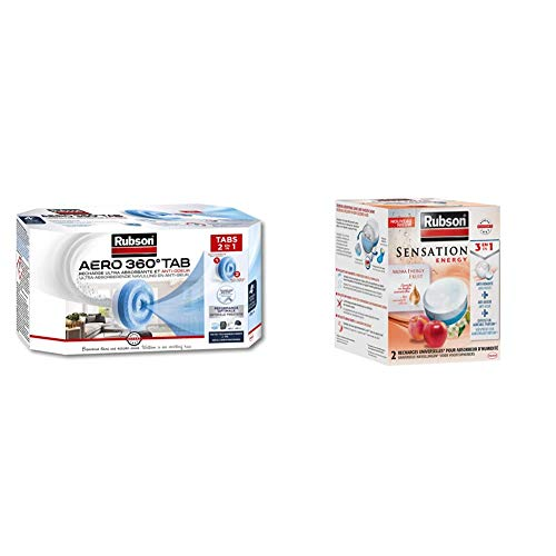 Rubson AERO 360° Recharges en tabs neutres pour absorbeur d'humidité, 4 x 450 g & Sensation Energy, 2 Recharges universelles de 300 gr pour absorbeur d'humidité