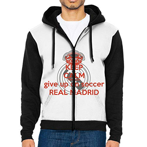 Wualker Stylish Keep-Calm and Never-Give Up On Soccer-Real Madrid Sweaters with Zipper for Men Black Small