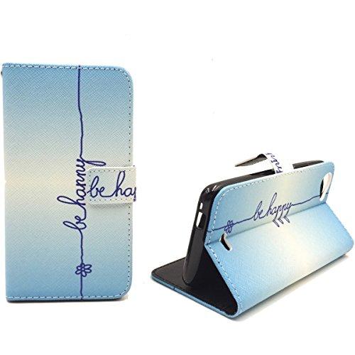 König Design Handyhülle Kompatibel mit Wiko Rainbow Jam Handytasche Schutzhülle Tasche Flip Case mit Kreditkartenfächern - Be Happy Blau