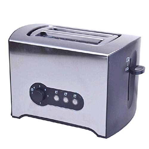 Mnjin Multifunktionaler Brotbackautomat Toaster 2-Scheiben-Warmhalterost aus gebürstetem Edelstahl für Frühstücksbrottoaster Auftauen Aufwärmen Abbrechen-Taste Abnehmbarer Krümelbehälter
