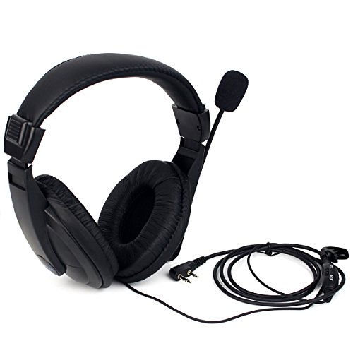 Retevis R114 Auricular de Diadema Cancelación Ruido VOX 2 Pines Over-Ear Pinganillos Compatible con Walkie Talkie RT24 RT22 RT5R RT27 Baofeng BF-888S UV-5R Kenwood Proster (1 Pacs)