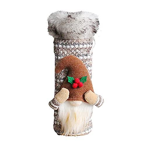 KerDejar Cubierta de botella de vino de gnomo de Navidad, bolsa de regalo de vino de Tomte sueco para Navidad
