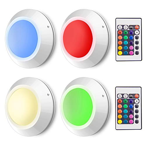 HONWELL Push Lights Colored Puck Lights Remote Controlled Tap Light Wireless RGB Touch Light Battery Powered 16 Color Changing Fairy Lights, Stick Lights for Closet Bedroom Classroom Cabinet Shelf