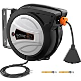Extension Cord Reel, 65ft Retractable Extension Cord + 4.5ft/12AWG/SJTOW Rated Cord, Cord Holder with Swivel Bracket, Overload Protection, Auto Retraction and Triple Socket for Wall/Ceiling Mounting