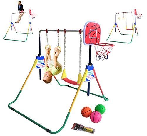 Kids Jungle Gymnastics Expandable Junior 4 in 1 Training Monkey Horizontal Bars Climbing Tower Child...