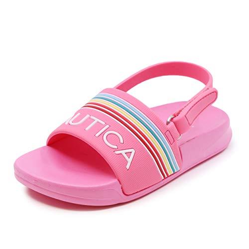 Nautica Kids Toddler Athletic Slide Pool Sandal |Boys - Girls| Toddler- Little Kid-Gaff Toddler-Pink Rainbow-8