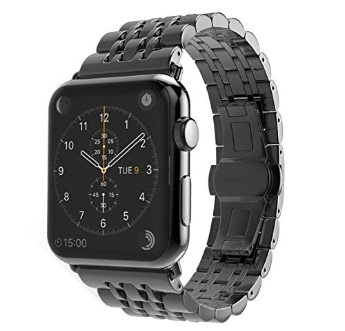 TECHGEAR Watch Band Compatible with Apple Watch 44mm / 42mm Steel Link Bracelet Watch Strap Wrist Band with Butterfly Metal Clasp for Series 5 4 3 2 1 - Black