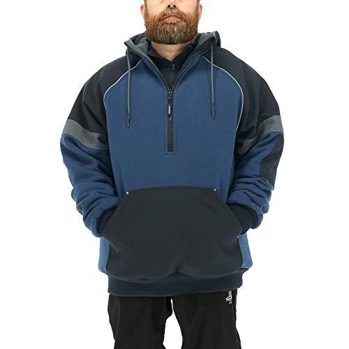 RefrigiWear Men's Frostline Pullover Sweatshirt - Insulated Hoodie with Fleece Lined Hood (Black/Blue, 2XL)
