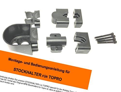 MPB® Stockhalter komplett für Topro-Rollatoren, Klemme und Becher, passend für die Modelle Troja, Ecco, Olympos und 2G,