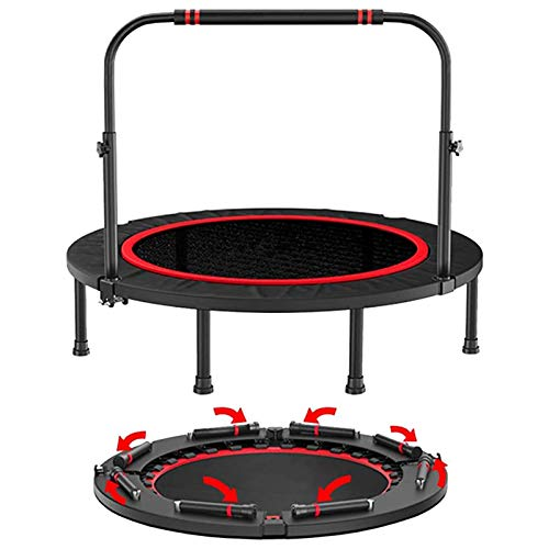 Trampolines HUO - Fitness for Adults, Foldable with Adjustable Handrail, Rebounder Bounce Workout for Home Outdoor