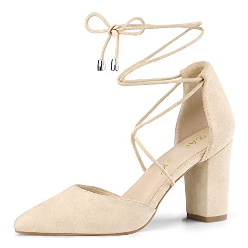 Allegra K Damen Pointed Toe Blockabsatz Kreuz Lace Up High Heels Pumps Beige 38 EU