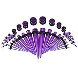 Ear Taper Set, Ear Taper Material acrílico de alta calidad para el hogar para exteriores(Transparent purple)