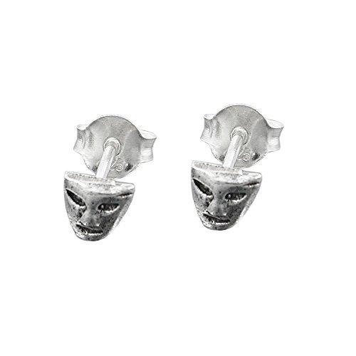 Stecker 5mm kleine Maske antik geschwärzt Silber 925