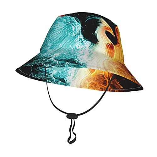 GAHAHA Sombrero de bebé para niñas y niños, fuegos, pájaros acuáticos, sombreros con correa ajustable para la barbilla, gorra de protección solar para el verano, al aire libre, escuela, pescad
