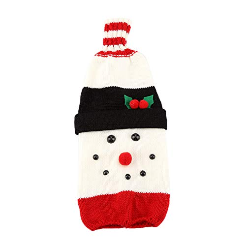 MAGT Wine Bottle Cover, Knitted Wine Bottle Bag Santa Claus Beverage Protector Christmas Wine Bottle Cover Christmas Table Party Decor Ornament(Snowman)