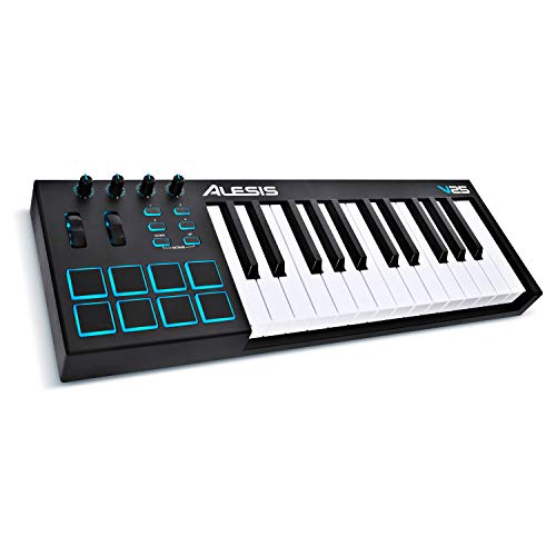 Alesis V25 | 25 Key USB MIDI Keyboard Controller with Backlit Pads, 4 Assignable Knobs and Buttons,...