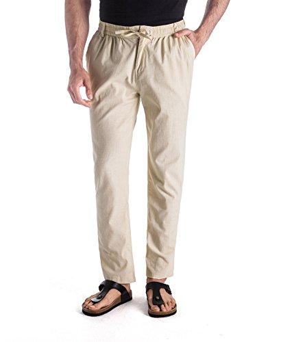 MUSE FATH Men's Linen Drawstring Casual Beach Pants-Lightweight Summer Trousers-Beige-L