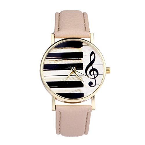 Chenhan Moda Piano Black White Keyboard Guarda Le Donne Nota Musicale Orologi da Uomo Casual Clock per Donne (Color : Brown)