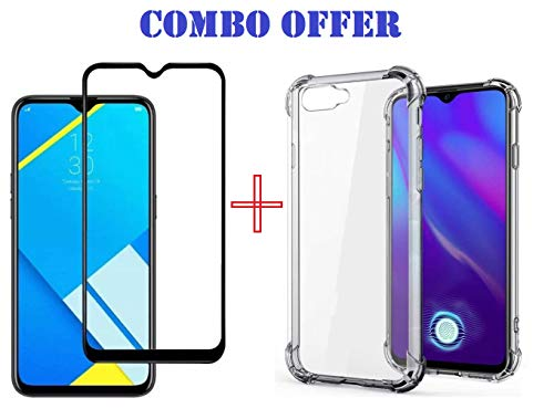 Lustree Realme C2 Tempered Glass 5D + Back Bumper Cover Combo Pack