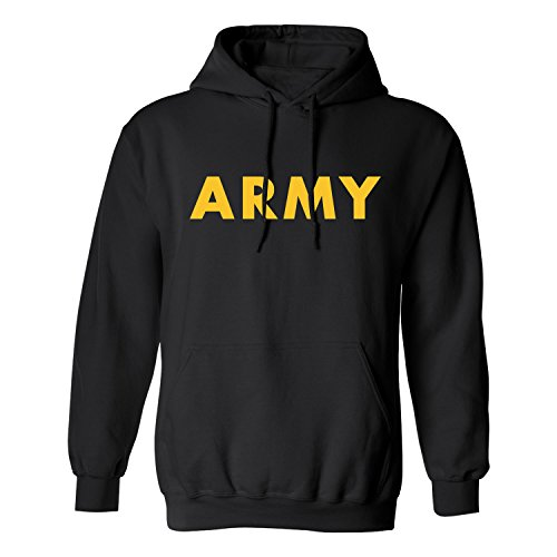 ZeroGravitee Black Army Hooded Sweatshirt with Gold Print - Large