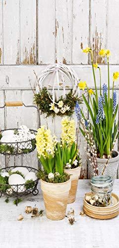 i.stHOME Textilposter Frühling Blumen Deko Banner Spring Garden Poster Stoff 90 x 180 cm Ladendeko