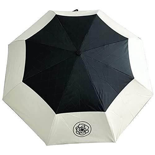 Comyglog Paraguas automático de lluvia MMNner de buena calidad para mujeres, con pliegues y rayos UV y sol, transparente