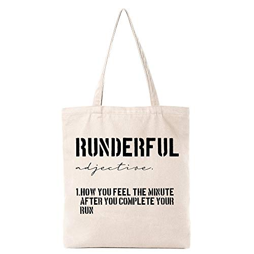 Funny Runderful Dictionary Definition Natural Cotton Reusable Tote Bag | Cute Running Eco-Friendly Cotton Tote Bag School Shoulder Bag Gifts for Runners Teens Women Friends Kids